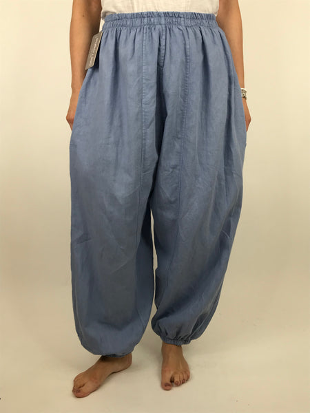 Lagenlook Charlie New Length Wide leg Linen Trousers in Denim. code 91037
