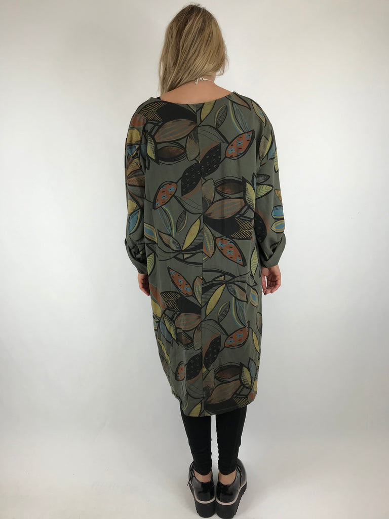 Lagenlook Winter Leaf Tunic in khaki. code 10015 - Lagenlook Clothing UK