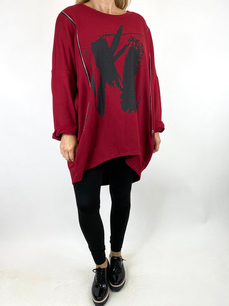 Lagenlook Pip Paint Splash Zip Cotton Sweatshirt Top in Wine. code 91181 - Lagenlook Clothing UK