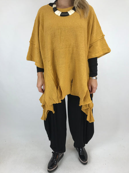 Lagenlook Jagered Hem Cotton Knit in Mustard. code 002