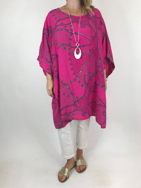 Lagenlook Chain Print Poncho Top in Fuchsia pink. code 7288