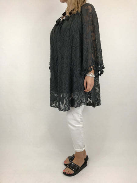 Lagenlook Barts Tassel Sleeve in Charcoal. Code 5824