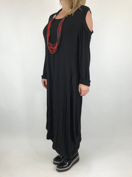 Lagenlook Alley Cold Shoulder Tunic in Black. code 1025