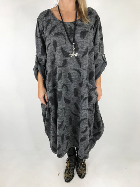 Lagenlook Feather Print Tunic In Mid Grey. code 8849