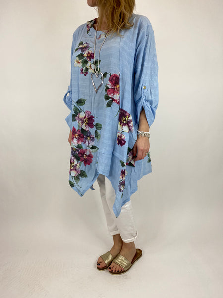 Lagenlook Cotton Flower panel top in Sky Blue. code 92201