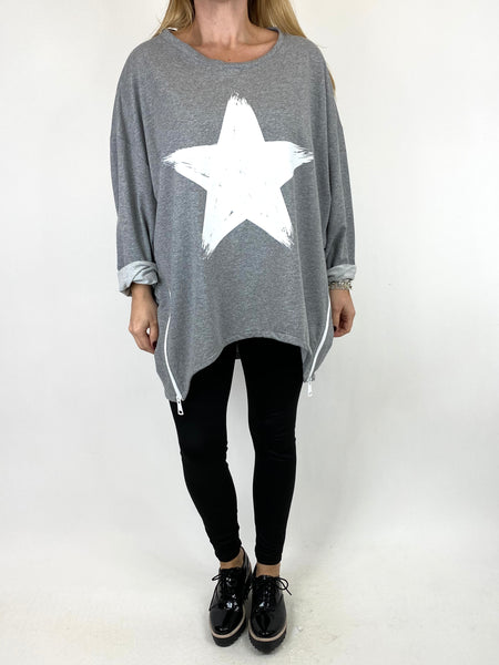 Lagenlook Star Zip Sweatshirt in Mid Grey Marl .code 91148 - Lagenlook Clothing UK