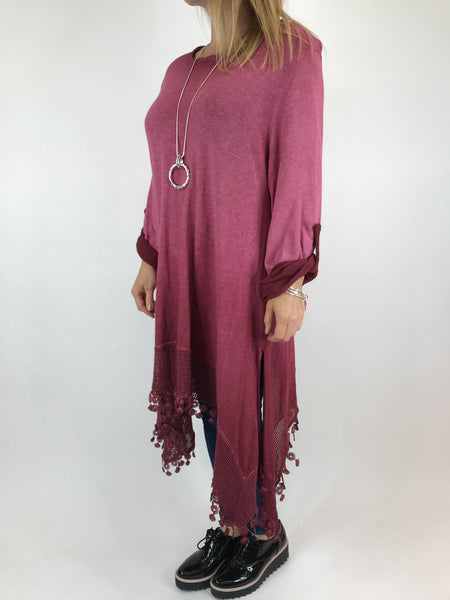 Lagenlook Bea Cotton Wash Colour Jumper in Wine. code 5981