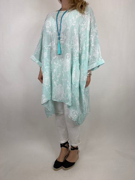 Lagenlook Rachel Flower Poncho In Mint. code 6363