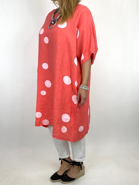 Lagenlook Dot Linen tunic in Coral. code 9619