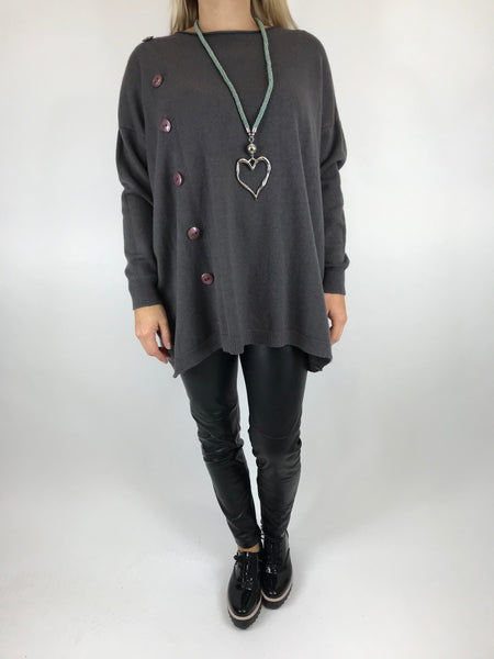 Lagenlook Tess Button side jumper in Charcoal. code 5461