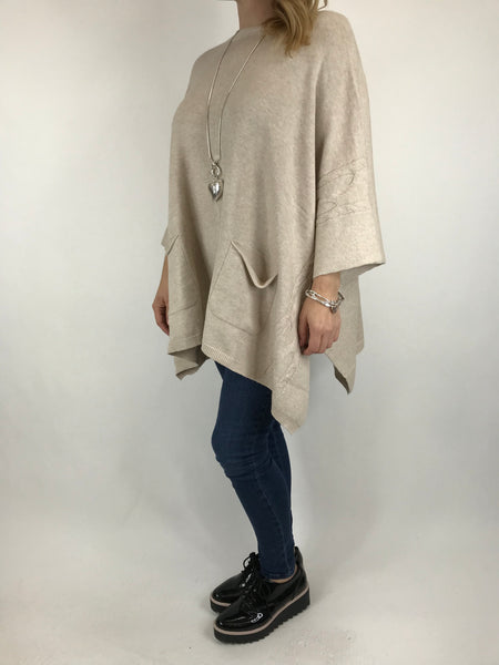 Lagenlook Button Side Poncho Jumper in Cream. code 5922