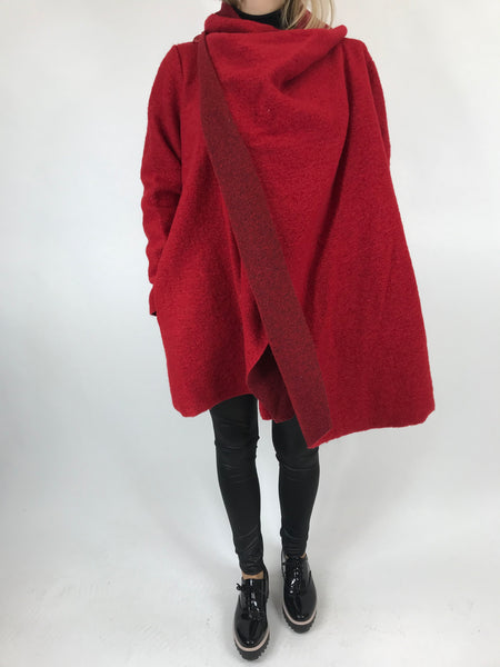 Lagenlook Button neck Wool Coat in Red. code 4945