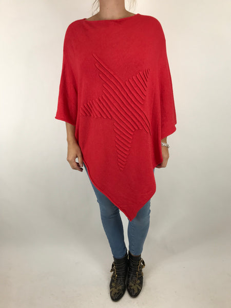 Lagenlook Made In Italy Star Poncho in Red. code 5405