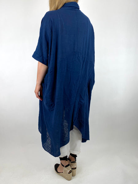 Lagenlook Cotton Wrap Dress Top in Navy. code 8307