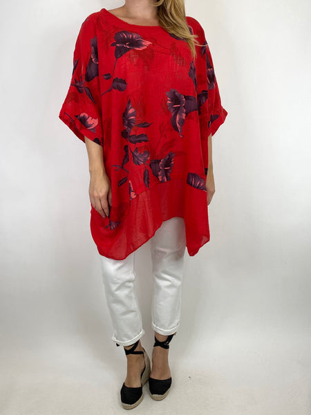 Lagenlook Ami Flower Cotton Top in Red. code 89425