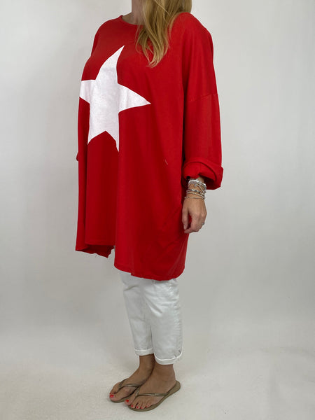 Lagenlook Solo Star Print Sweatshirt Top Tunic in Red. Code 9482 - Lagenlook Clothing UK