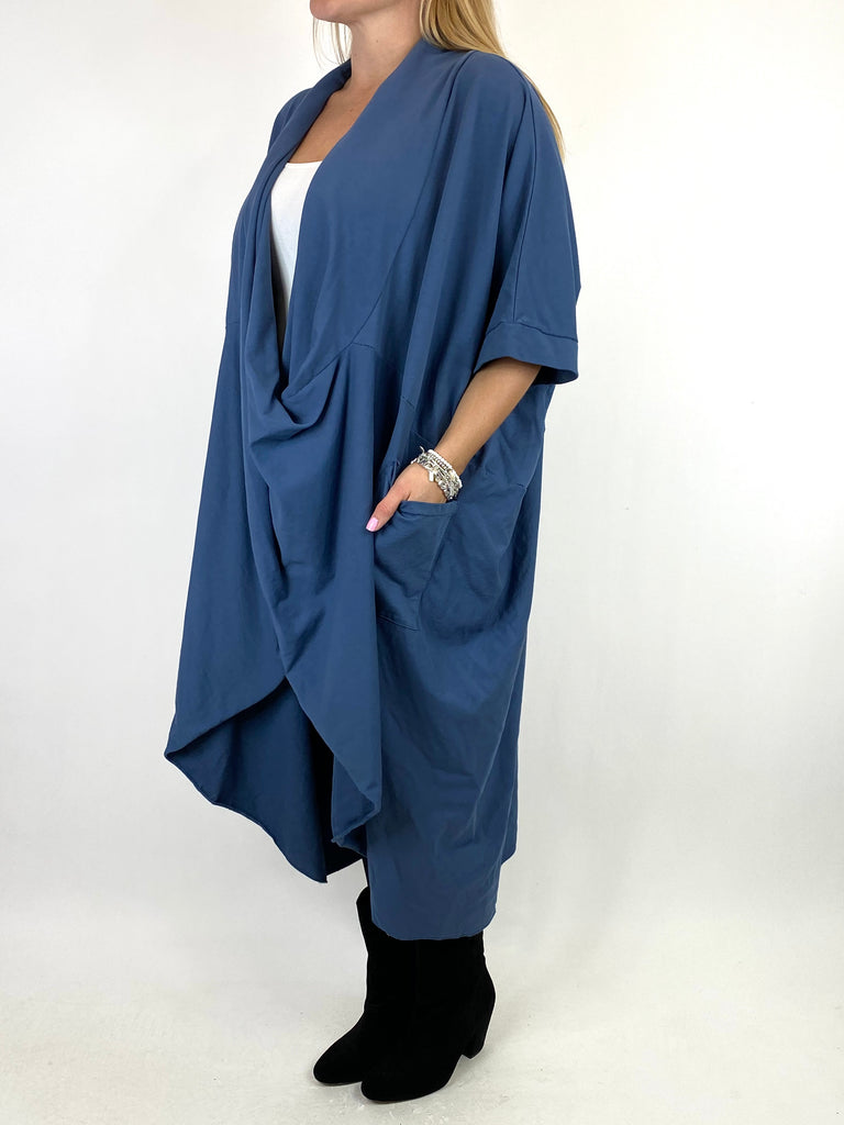 Lagenlook Mena Wrap Dress Top in Denim. code 8307
