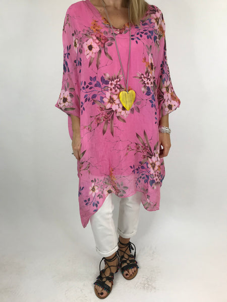 Lagenlook Silk V- Neck Flower Poncho Top in Pink. code 2769