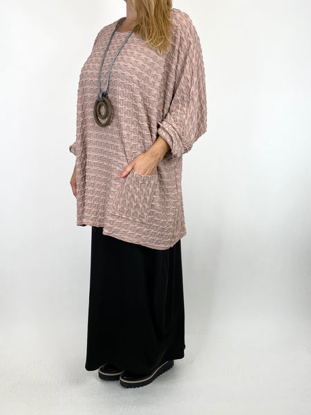 Lagenlook Celia Textured Large Waffle Pocket Top in Dusky Pink. code 91110 - Lagenlook Clothing UK
