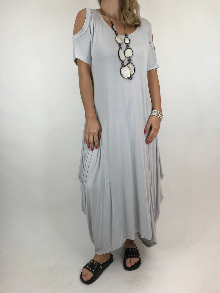 Lagenlook Long Plain Cold shoulder Tunic in Cloud. code 1026