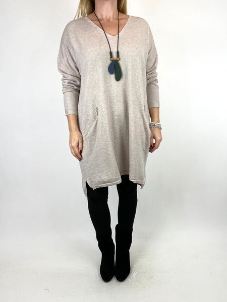 Lagenlook Tib Three Button Detail Jumper in Cream. code 2606 - Lagenlook Clothing UK