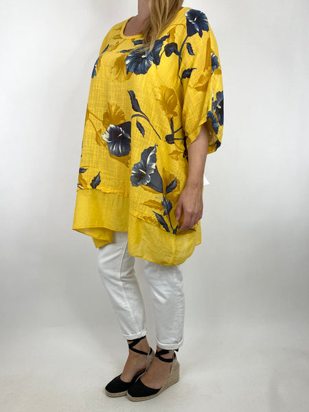 Lagenlook Ami Flower Cotton Top in Yellow. code 89425