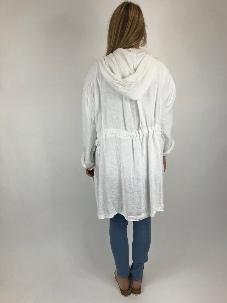 Lagenlook Quirky Linen Jacket in White. code 5673