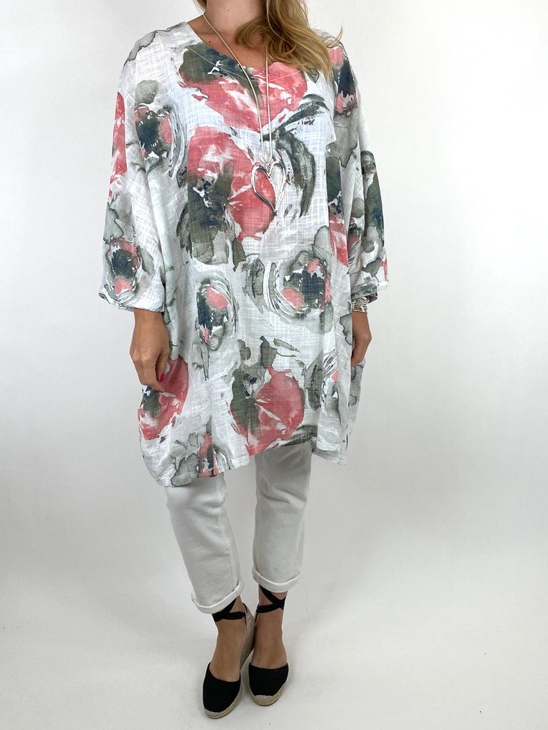 Lagenlook Iris Watercolour Flower Top in White.code 91006WC - Lagenlook Clothing UK