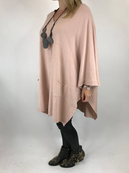 Lagenlook Freya v- neck Oversized Poncho in Pale pink. code 0012