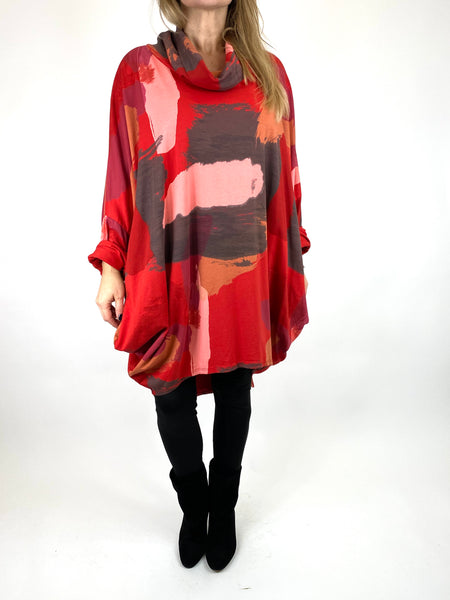 Lagenlook Cowl Neck Paint Splash Print Top in Red. code 9810
