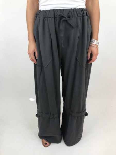 Lagenlook Cotton Wide leg Sweatshirt Trousers in Charcoal Grey . code 5654