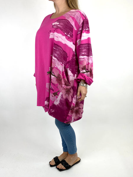 Lagenlook Hetty Flower Top in Fuchsia. code 90646 - Lagenlook Clothing UK