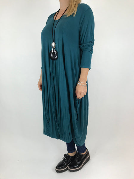 Lagenlook Long Plain V Neck Tunic In Teal. code 5983