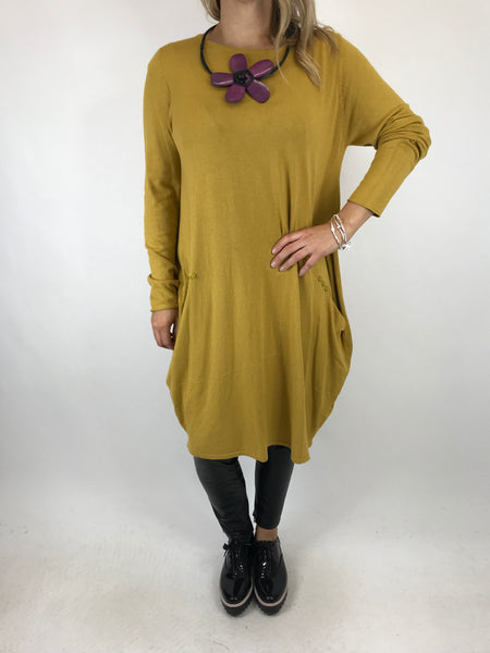 Lagenlook Milly Knitted Tunic in Mustard. code 5520