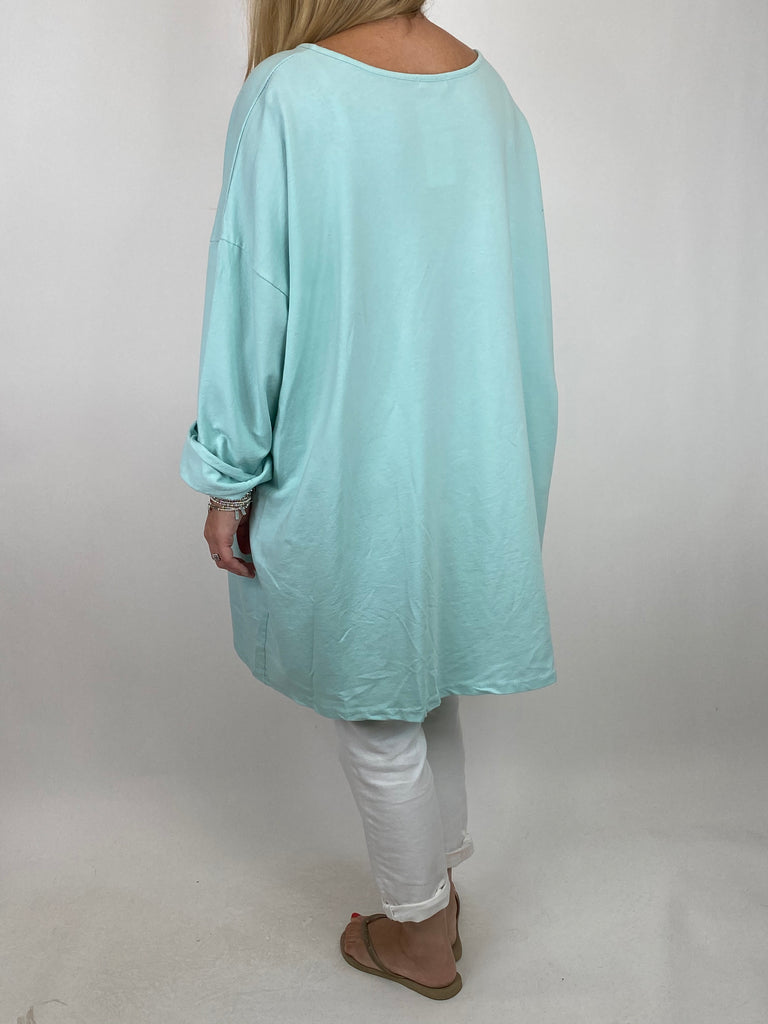 Lagenlook Solo Star Print Sweatshirt Top Tunic in Mint. Code 9482 - Lagenlook Clothing UK