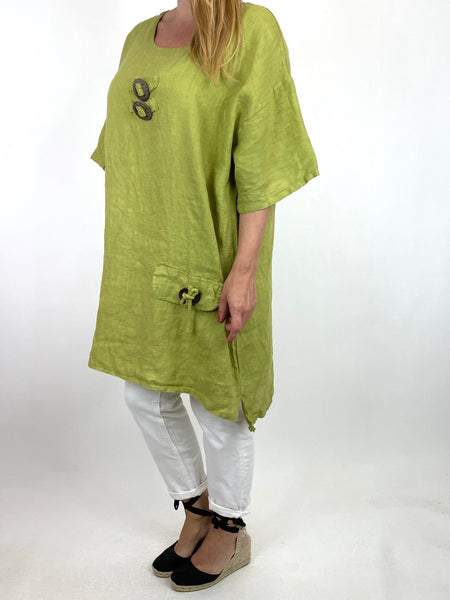 Lagenlook Bea Linen Top In Lime. code 9782