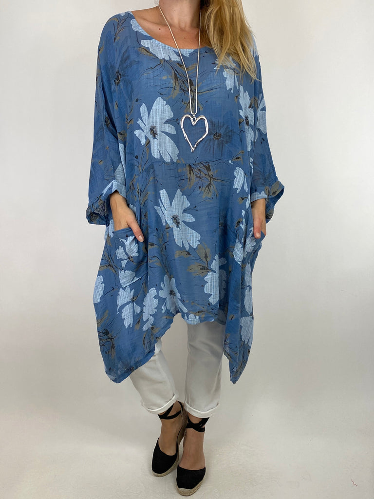 Lagenlook Monica Flower Top In Denim. code 7365