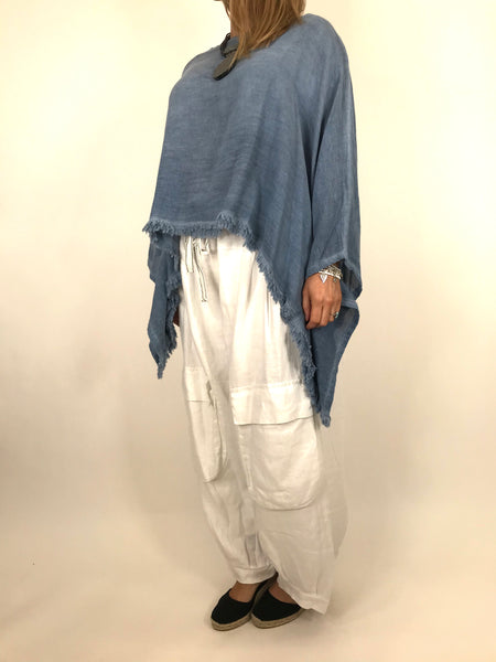 Lagenlook Raw Edge Short Linen layering top in Denim. code 02246