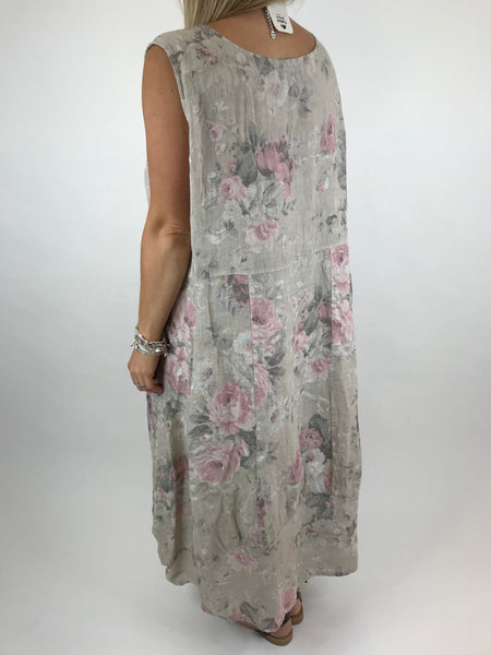 Lagenlook Emily Square neck linen Flower Print Dress in Cream. code 5697