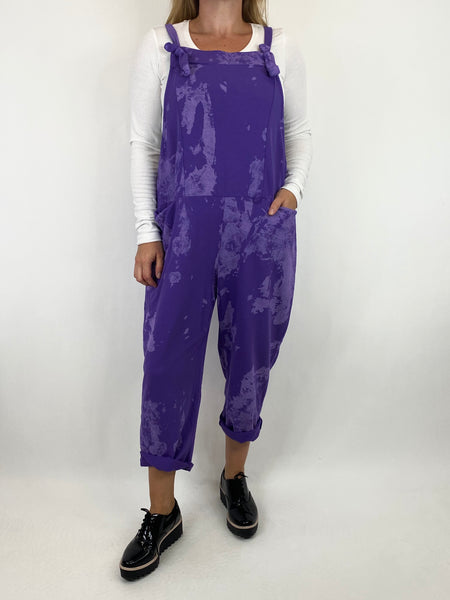 Lagenlook Dakota Tye-dye Made in Italy Dungarees in Purple.code 6777TD - Lagenlook Clothing UK