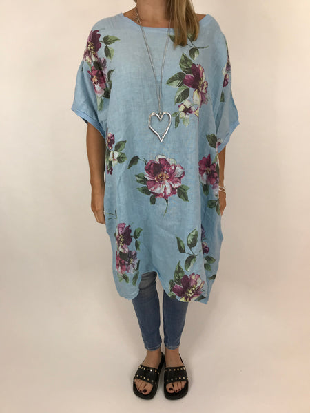 4073e26a75253 Lagenlook Nikki Summer Flower Tunic in sky blue. code 5682 ...