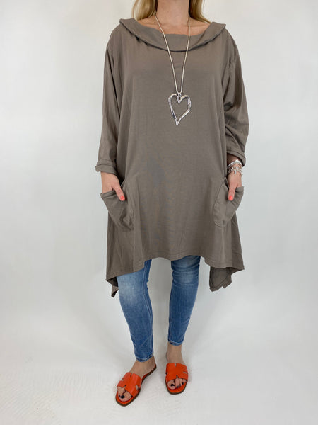 Lagenlook Felicity Sweatshirt Collared Top in Mocha Curve 30+. code 7449