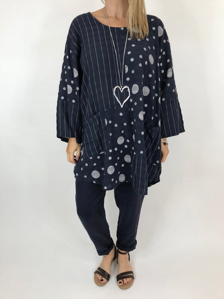 Lagenlook Milly Cotton Dot and Stripe Top in Navy .code 90670