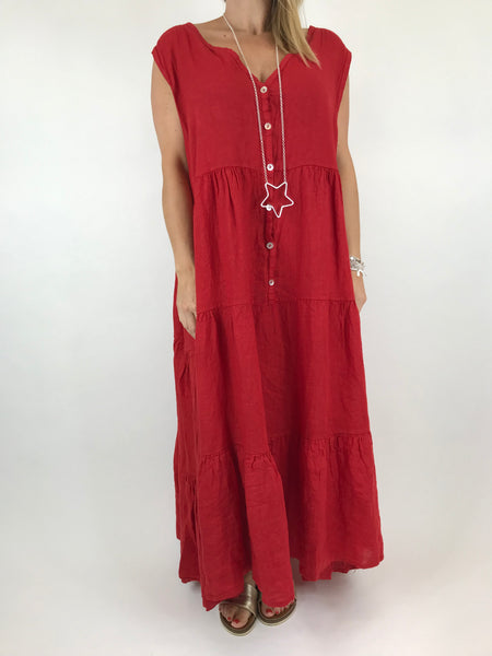 43dbe60ff366 Lagenlook Kate Sleeveless Button Front Linen Tunic in Red. code 20529 ...