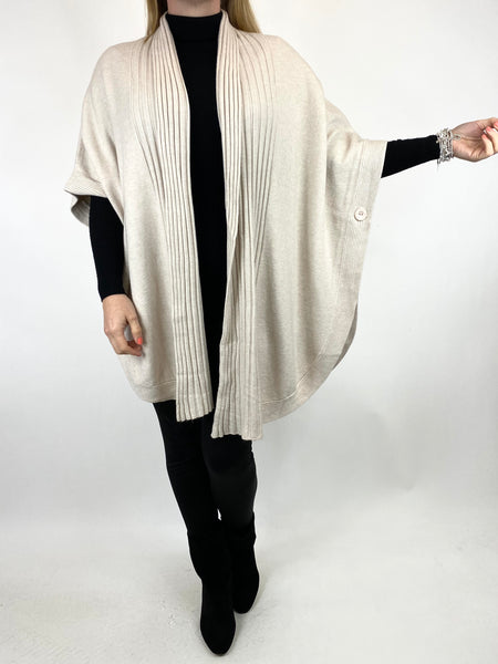 Lagenlook Perry Cable Edge Knitted Cardigan in Cream. code 2728 - Lagenlook Clothing UK
