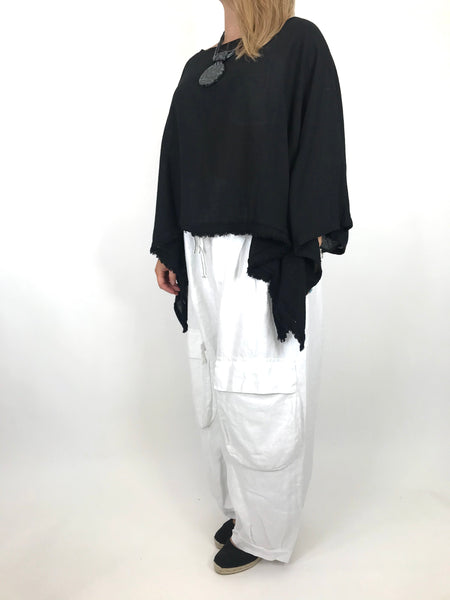 Lagenlook Raw Edge Short Linen layering top in Black. code 02246