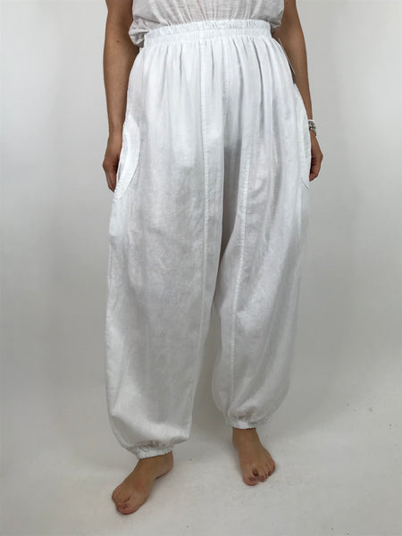 Lagenlook Charlie New Length Wide leg Linen Trousers in White. code 91037