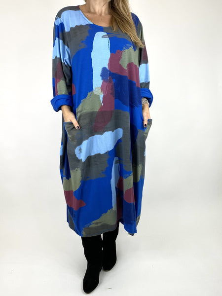 Lagenlook Elin Paint Splash Print Tunic in Royal Blue. code 9807