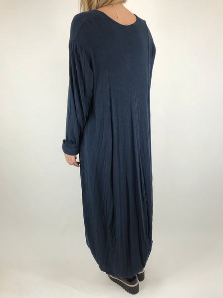Lagenlook Long Plain V Neck Tunic In Navy. code 5983
