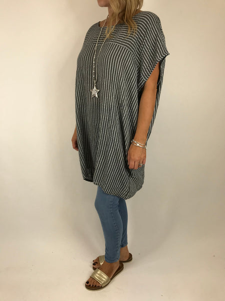 Lagenlook Nova Pinstripe Top in Charcoal. code 5175
